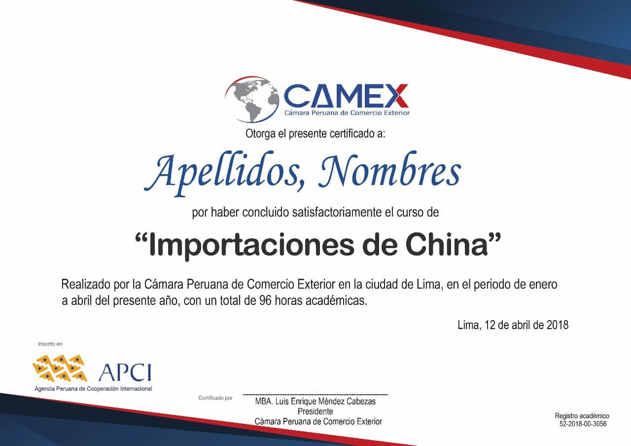 certificacion importaciones de china