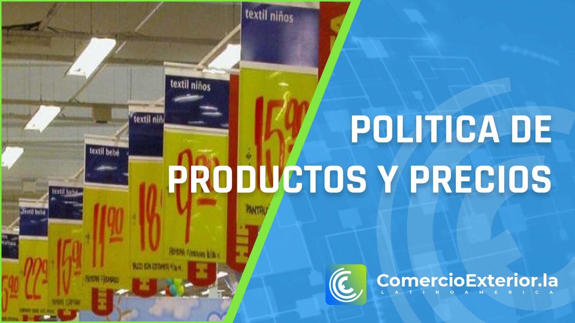 politica de precios y productos